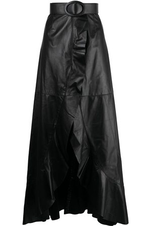 Costarellos High-waisted asymmetric leather skirt