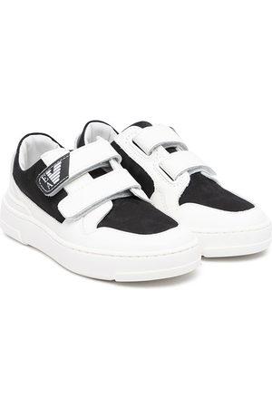 Emporio Armani Logo-print panelled touch-strap sneakers