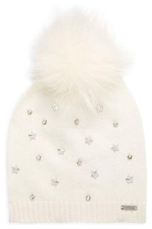 Bari Lynn Girl's Star Embellished Fur-Trim Beanie