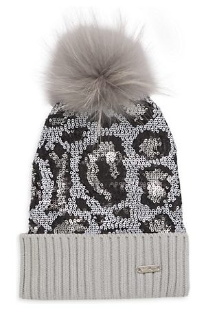 Bari Lynn Girl's Leo Sequin Embellished Fur-Trim Beanie