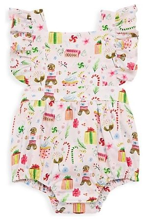 Worthy Threads Girls Bodysuits - Baby's & Little Girl's Bubble Gingerbread Holiday Romper