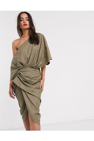 ASOS Drape asymmetric linen midi dress