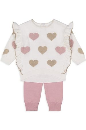 Miniclasix Baby Girl's 2-Piece Sweater Metallic & Joggers Set