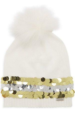 Bari Lynn Girl's Fox Fur Pom-Pom Beanie