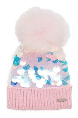 Bari Lynn Girl's Sequin Embellished Fur-Trim Beanie