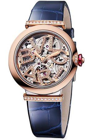 Bvlgari Lvcea Rose Gold & Diamond Skeleton Watch