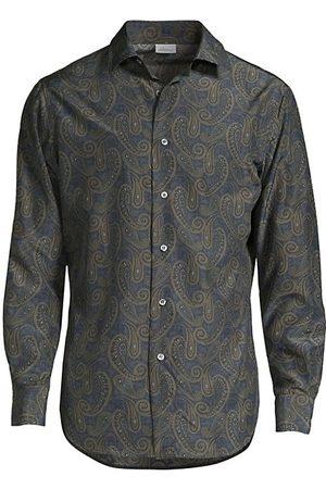 BRIONI Silk Paisley Print Sport Shirt