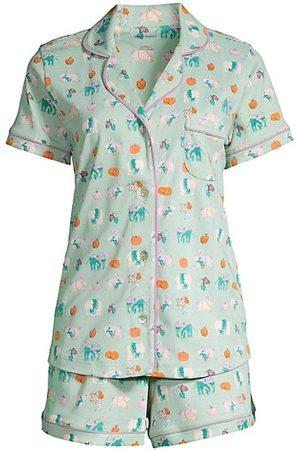 Roller Rabbit Women Bathrobes - Pumpkin Spice 2-Piece Pajama Set