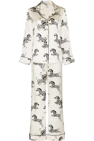 Olivia von Halle Women Lingerie Sets - Zebra print silk pajama set