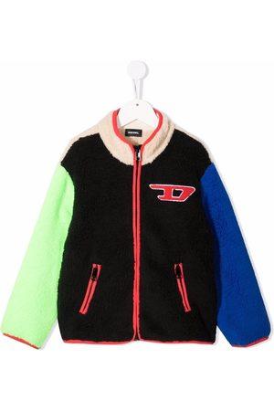 Diesel Colourblock logo-patch fleece jacket