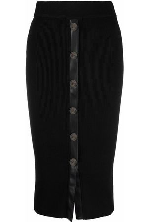 Pinko Buttoned ribbed-knit skirt