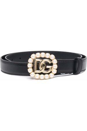 Dolce & Gabbana Rhinestone-embellished logo-plaque belt
