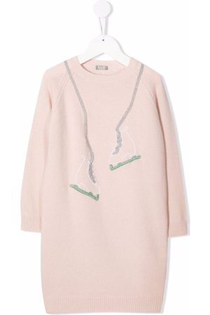 Il gufo Embroidered skates knitted dress