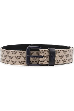 Emporio Armani Boys Belts - Logo-print canvas belt