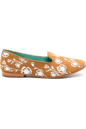 Blue Bird Floral embroidered suede loafers