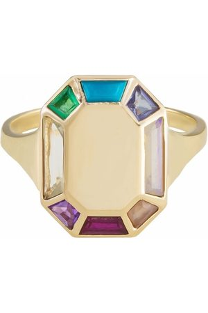 Metier by Tom Foolery 9kt yellow Tableau Octagon rainbow gemstone ring