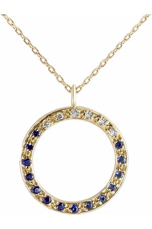 Metier by Tom Foolery Women Necklaces - 9kt yellow Open Circle diamond and sapphire necklace