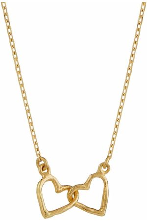 Alex Monroe Women Necklaces - 18kt yellow Teeny Tiny Linked Heart necklace