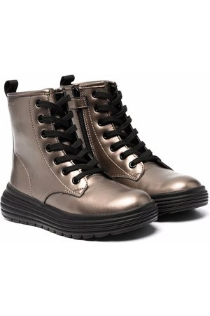 Geox Metallic effect lace-up combat boots