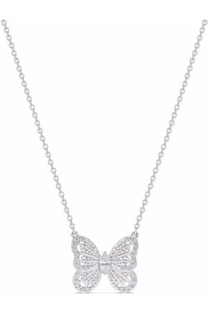 De Beers 18kt white gold diamond butterfly pendant necklace