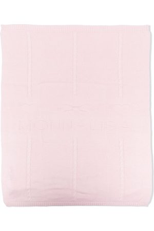 MONNALISA Embroidered cotton-blend knitted blanket