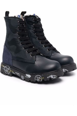 Premiata Boys Boots - Contrast-sole leather boots