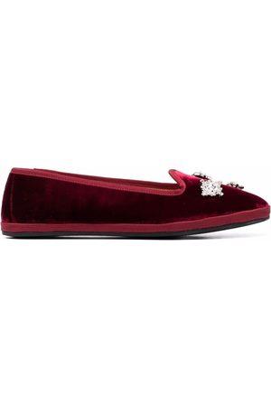 GIANNICO Crystal-embellished velvet ballerina shoes