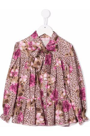 MISS BLUMARINE Graphic-print long-sleeve blouse