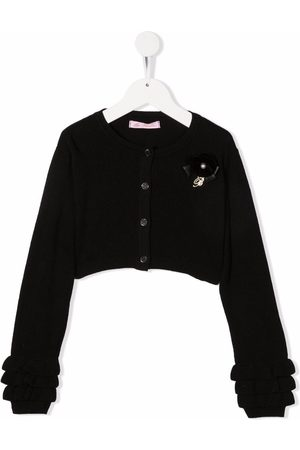 MISS BLUMARINE Logo-plaque cropped knitted cardigan