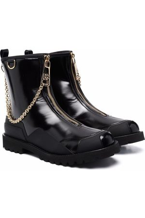 Dolce & Gabbana Chain-detail patent leather boots