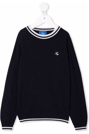 FAY KIDS Boys Jumpers - Embroidered-logo knitted jumper