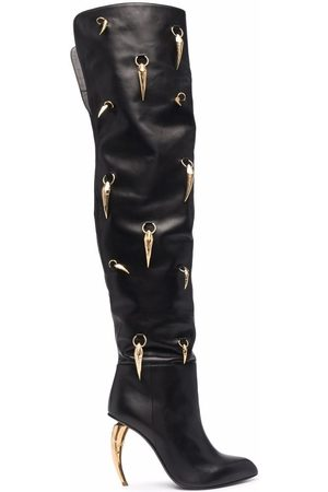 Roberto Cavalli Horn-charm over-the-knee leather boots