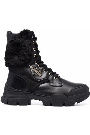 Love Moschino Fur panel lace-up boots