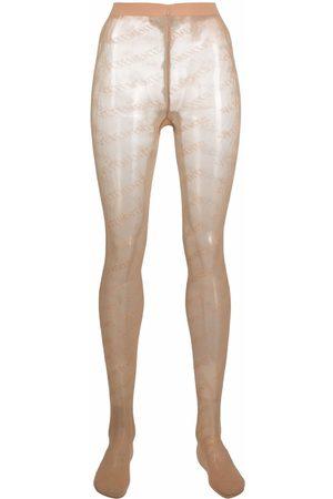 Vetements Women Stockings - Logo-print mesh tights