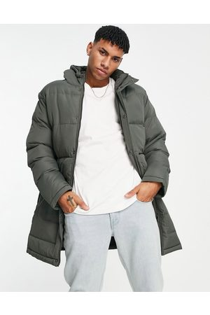 French Connection Men Parkas - Longline padded parka with hood in khaki