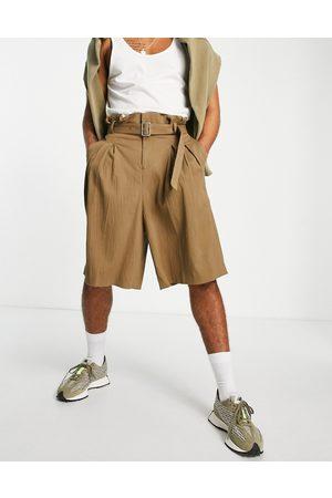 ASOS Men Bermudas - Paperbag bermuda smart shorts in rust