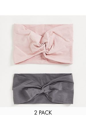 ASOS Women Headbands - Pack of 2 wide jersey headband with knot in pink and grey-Multi