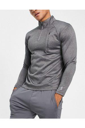 ASOS Men Sports Sweatshirts - Icon muscle fit training sweatshirt with 1/4 zip in marl