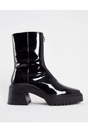 ASOS Men Boots - Chunky heeled square toe zip front chelsea boot in patent leather