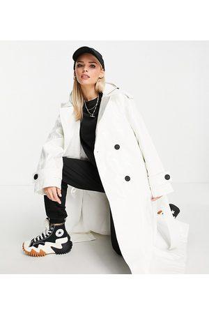 ASOS ASOS DESIGN Petite glossy patent hooded trench coat in cream
