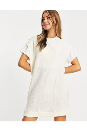 ASOS Women Casual Dresses - 2 in 1 cable knit jumper dress in cream and