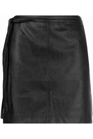 Pinko Women Leather Skirts - Faux-leather fitted miniskirt