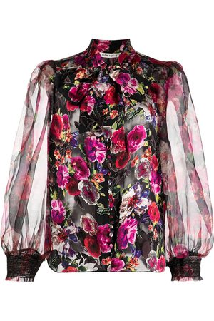ALICE+OLIVIA Floral-print ruched blouse