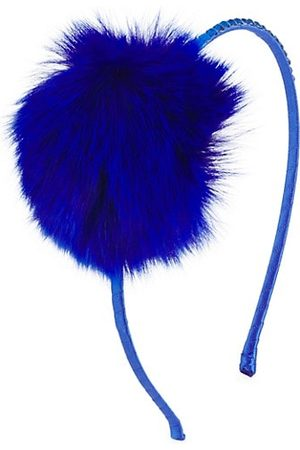 Bari Lynn Girl's Fox Fur Pom & Swarovski Headband