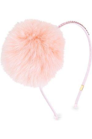 Bari Lynn Girls Headbands - Girl's Fox Fur Pom & Swarovski Headband