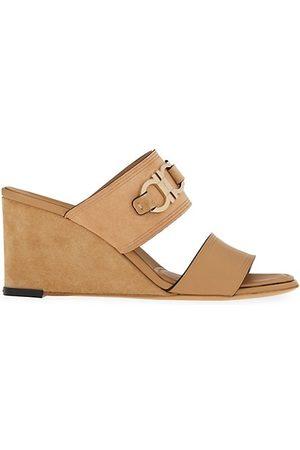 Salvatore Ferragamo Wedged Sandals - Chaim Suede & Leather Gancini Wedge Sandals