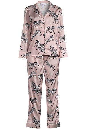 Averie Sleep Two-Piece Zebra Print Pajama Set