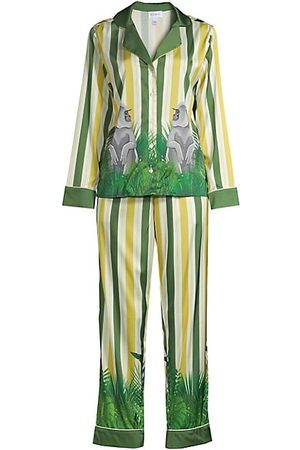 Averie Sleep Two-Piece Stripes & Jungle Print Pajama Set