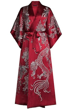 Natori Women Bathrobes - Embroidered Silk Robe