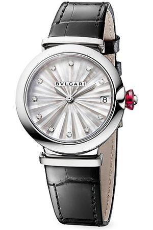 Bvlgari Watches - Lvcea Stainless Steel & Diamond Alligator-Strap Watch